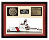 USCGC Steadfast WMEC-623 Framed Coast Guard Ship Display Burgundy