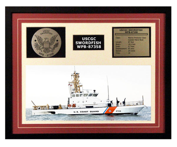 USCGC Swordfish WPB-87358 Framed Coast Guard Ship Display Burgundy