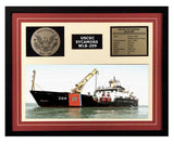 USCGC Sycamore WLB-209 Framed Coast Guard Ship Display Burgundy