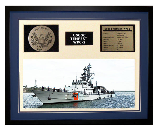 USCGC Tempest WPC-2 Framed Coast Guard Ship Display Blue