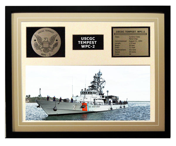 USCGC Tempest WPC-2 Framed Coast Guard Ship Display Brown
