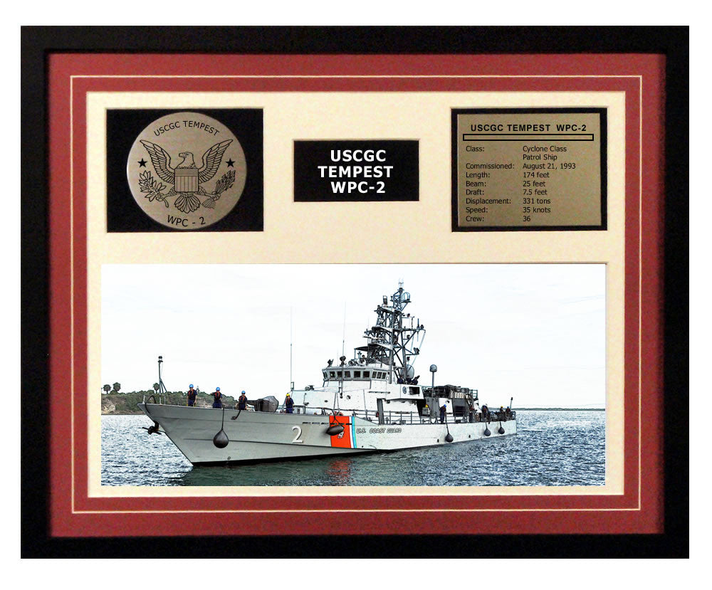 USCGC Tempest WPC-2 Framed Coast Guard Ship Display Burgundy