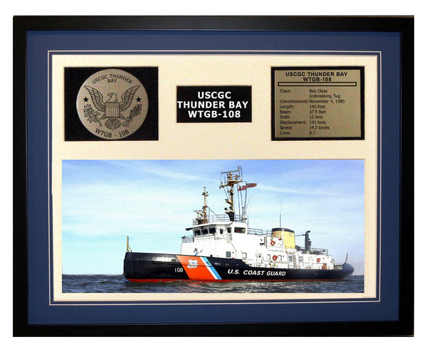 USCGC Thunder Bay WTGB-108 Framed Coast Guard Ship Display Blue