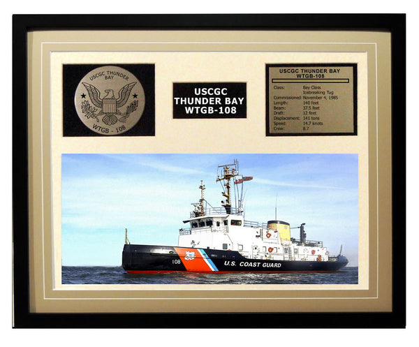 USCGC Thunder Bay WTGB-108 Framed Coast Guard Ship Display Brown