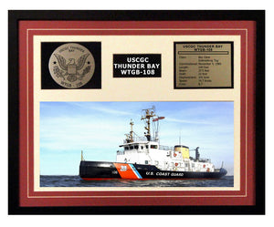 USCGC Thunder Bay WTGB-108 Framed Coast Guard Ship Display Burgundy