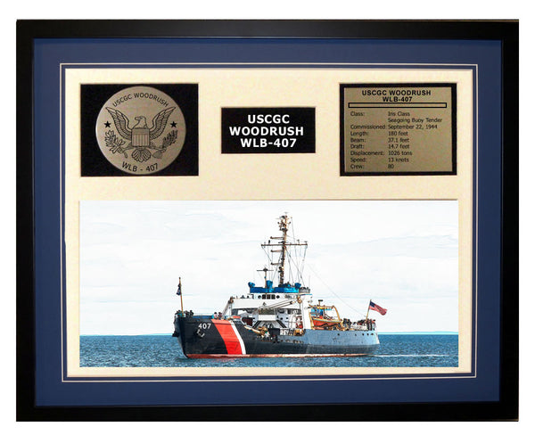 USCGC Woodrush WLB-407 Framed Coast Guard Ship Display Blue