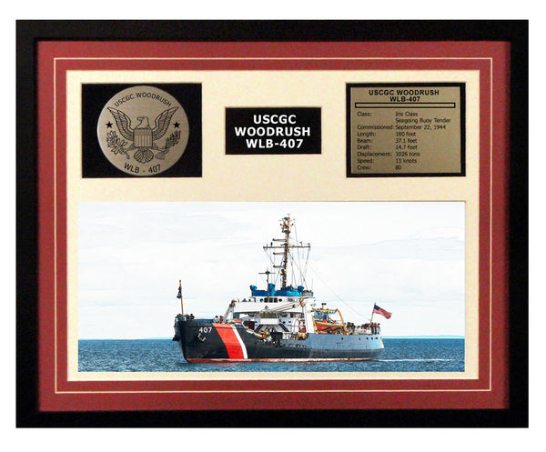 USCGC Woodrush WLB-407 Framed Coast Guard Ship Display Burgundy