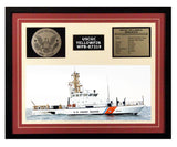USCGC Yellowfin WPB-87319 Framed Coast Guard Ship Display Burgundy