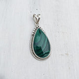Malachite Drop Silver Pendant