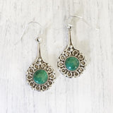 Malachite Silver Dangle Earring