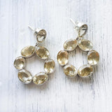 FACETTED CITRINE SILVER EARRING -