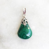 Malachite Filigree Silver Pendant