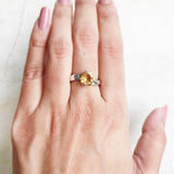 CITRINE SILVER FACETTED RING
