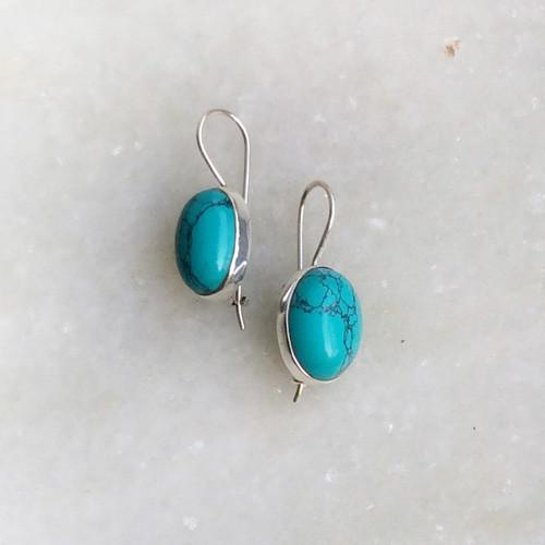 TURQUOISE SILVER FIXED HOOK EARRING - SILBERUH