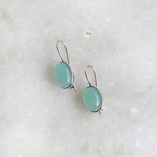 AQUA CHALCEDONY SILVER EARRINGS - SILBERUH