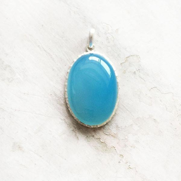 BLUE CHALCEDONY SILVER PENDANT - SILBERUH
