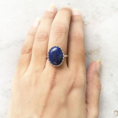 LAPIS LAZULI KNOTTED SILVER RING - SILBERUH