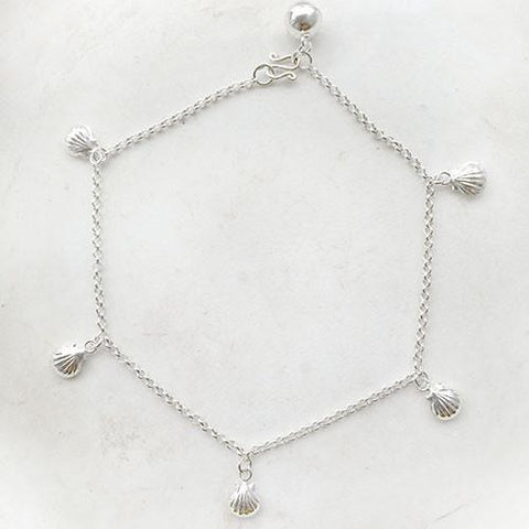 SEA SHELL SILVER ANKLET - SILBERUH