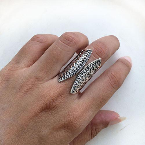 TRIBAL SILVER ADJUSTABLE RING - SILBERUH