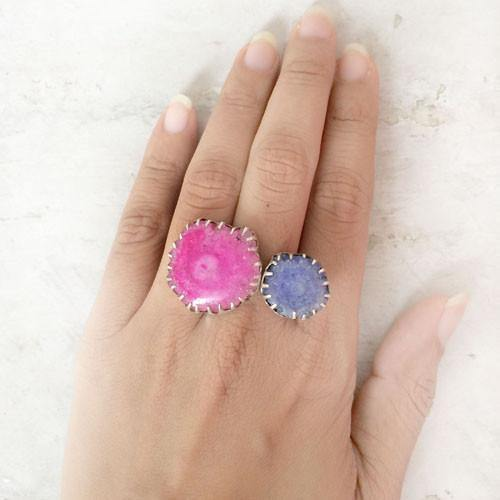 DRUZY COCKTAIL SILVER RING - SILBERUH