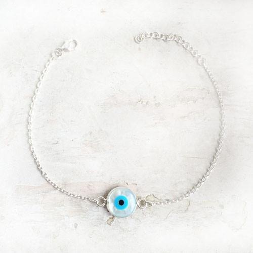 EVIL EYE MOTHER OF PEARL SILVER BRACELET - SILBERUH