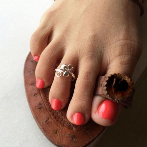STAR & HEART SILVER ADJUSTABLE TOE RING - SILBERUH
