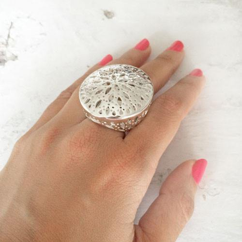 COCKTAIL SILVER DOME RING - SILBERUH