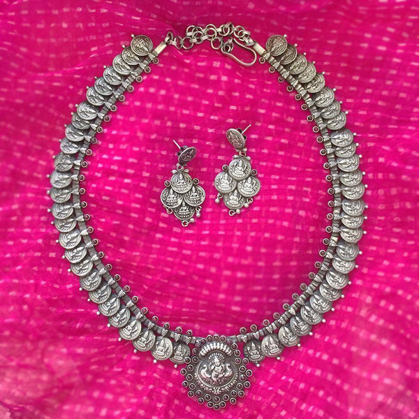 LAXMI COIN SILVER NECKLACE & EARRING - SILBERUH