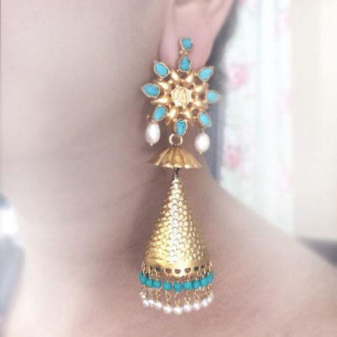 TURQUOISE & PEARL GOLD JHUMKA