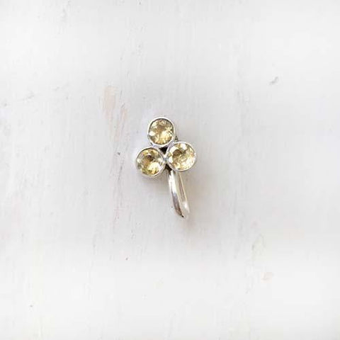 CITRINE FLOWER SILVER NOSE CLIP
