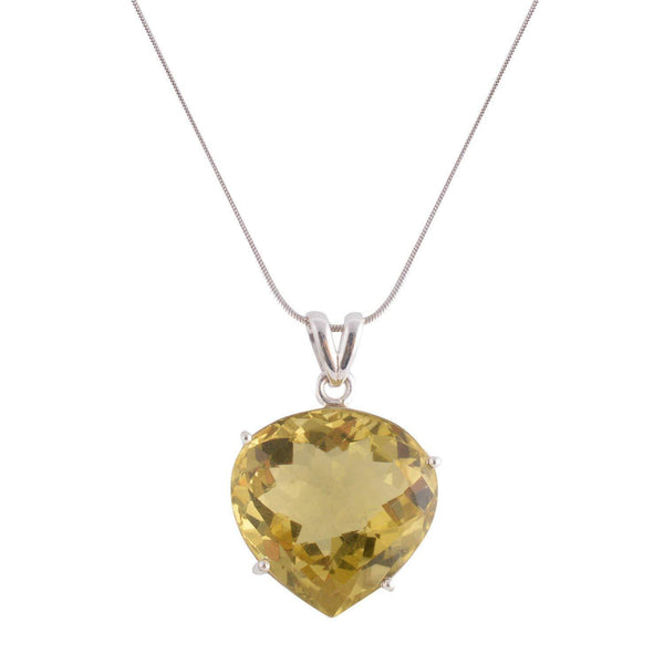 FACETTED LEMON TOPAZ HEART SILVER PENDANT - SILBERUH