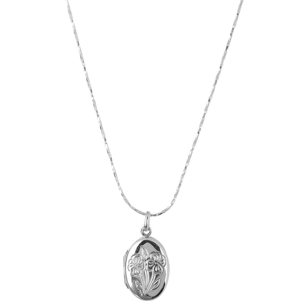 FLOWER SILVER LOCKET WITH CHAIN - SILBERUH
