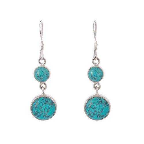 ROUND TURQUOISE SILVER EARRING - SILBERUH