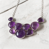 AMETHYST SILVER CHUNKY NECKLACE - SILBERUH