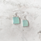 AQUA CHALCEDONY BOW EARRINGS - SILBERUH