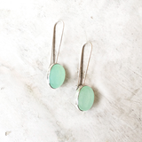 AQUA CHALCEDONY LONG HOOK SILVER EARRINGS - SILBERUH