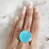 BLUE CHALCEDONY ROUND FILIGREE RING - SILBERUH