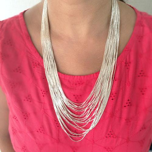 MULTI STRING SILVER NECKLACE - SILBERUH