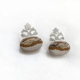 PICTURE JASPER CROWN SILVER EARRING - SILBERUH