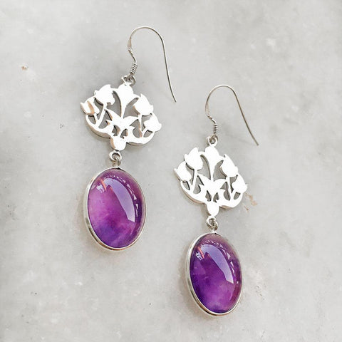 AMETHYST SILVER DANGLE EARRING - SILBERUH