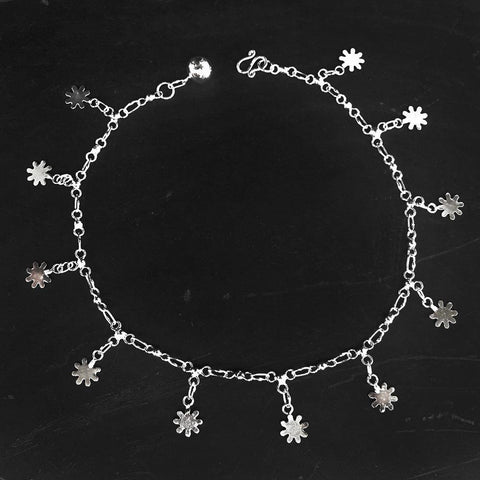 FLOWER SILVER ANKLET - SILBERUH