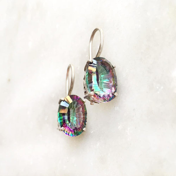 MYSTIC TOPAZ FIXED HOOK SILVER EARRING - SILBERUH