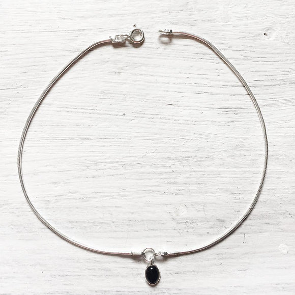 BLACK ONYX CHARM SILVER ANKLET - SILBERUH