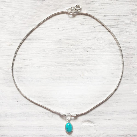TURQUOISE CHARM SILVER ANKLET - SILBERUH