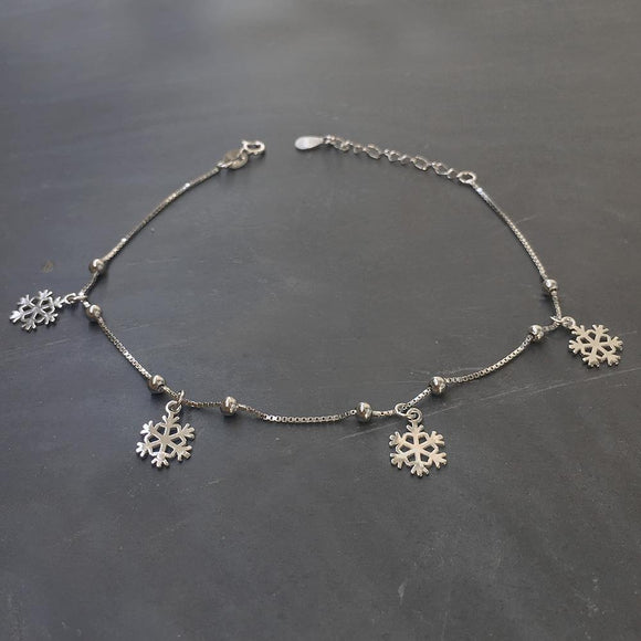 SNOWFLAKE SILVER ANKLET - SILBERUH