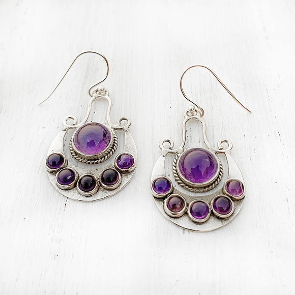 Amethyst Chand Silver Earring