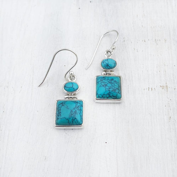 TURQUOISE SQUARE SILVER EARRING