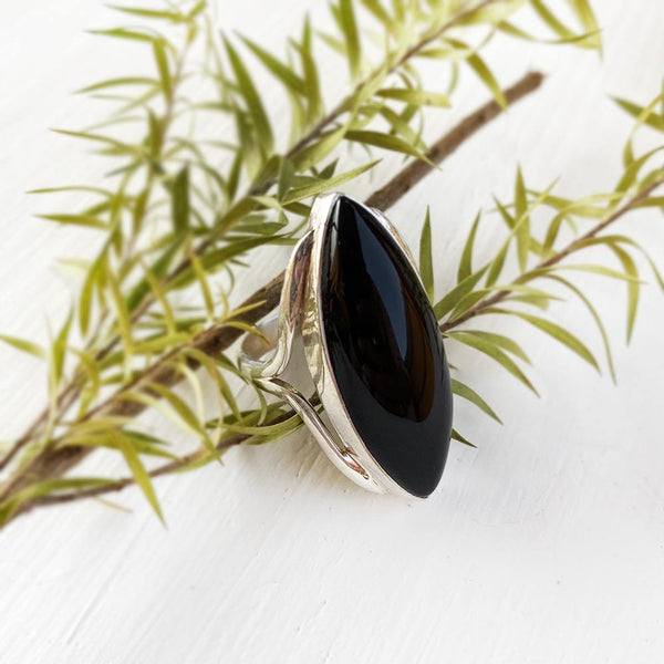 BLACK ONYX MARQUISE SILVER RING