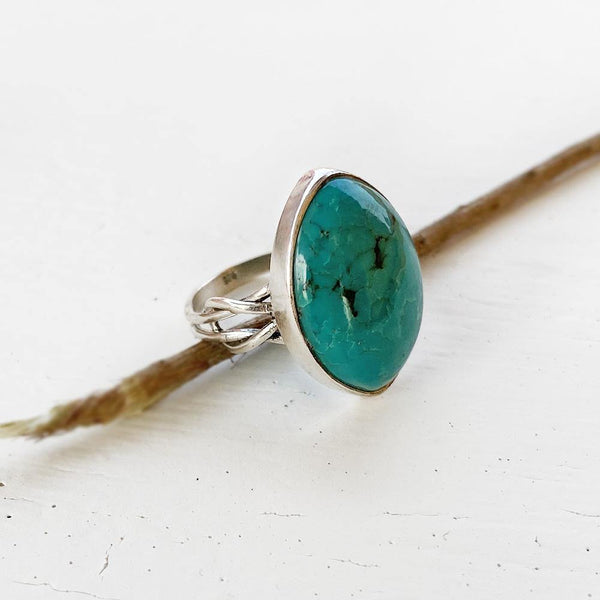 NATURAL TURQUOISE KNOT SILVER RING