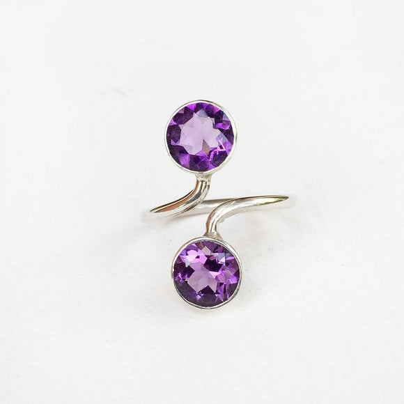 AMETHYST FACETTED ADJUSTABLE SILVER RING